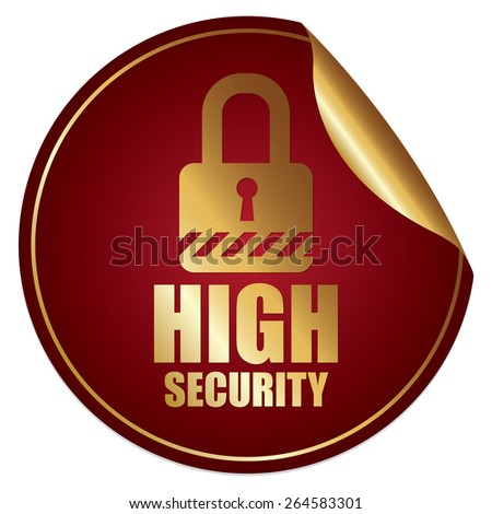 Red Metallic High Security Sticker, Icon or Label Isolated on White Background  - stock photo