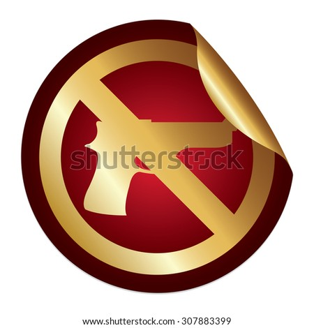 Red Metallic No Gun Prohibited Sign Infographics Peeling Sticker, Icon or Label Isolated on White Background  - stock photo