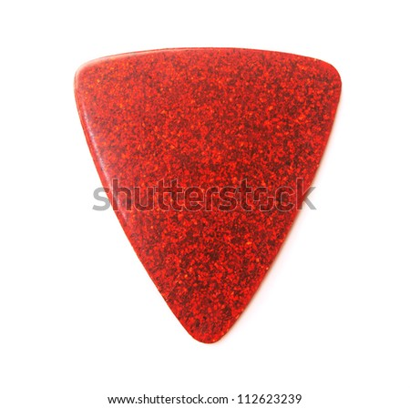 Red metallic or sparkle guitar pick, isolated on white. - stock photo