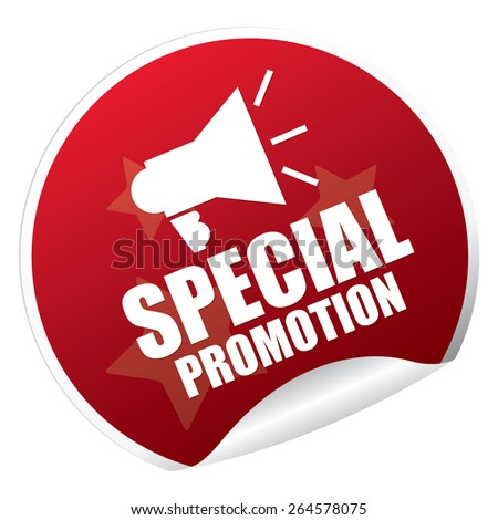 Red Metallic Special Promotion Sticker, Icon or Label Isolated on White Background  - stock photo