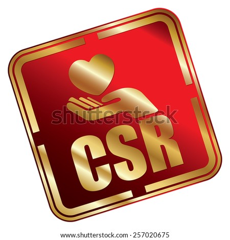 Red Metallic Square CSR Icon, Sticker, Banner, Tag, Sign or Label Isolated on White Background - stock photo