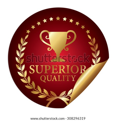 Red Metallic Superior Quality Infographics Peeling Sticker, Icon, Badge, Sign or Label Isolated on White Background  - stock photo