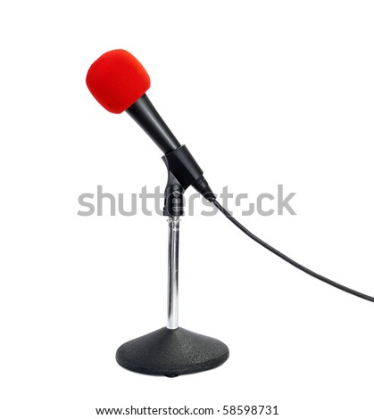 Red microphone isolated on white background - stock photo