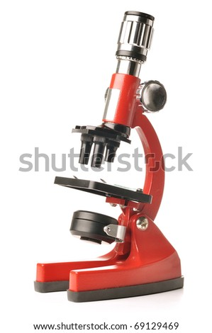 red microscope isolated on white background - stock photo