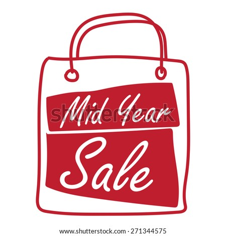 Red Mid Year Sale Shopping Bag Label, Banner, Sign or Icon Isolated on White Background - stock photo