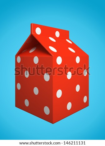 Red milk box isolated on blue background 3D rendering - stock photo