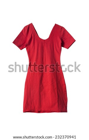 Red mini dress on white background