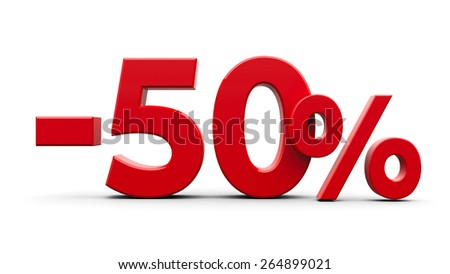 Red minus fifty percent sign isolated on white background, three-dimensional rendering - stock photo
