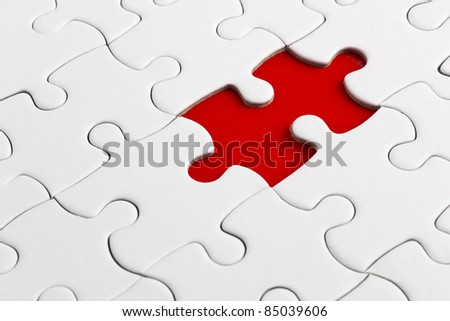 Red missed piece - stock photo