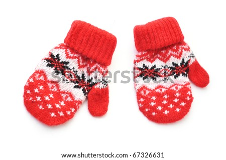 Red mittens - stock photo