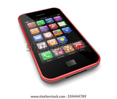 Red mobile cellphone with touchscreen and colorful apps . 3d image - stock photo