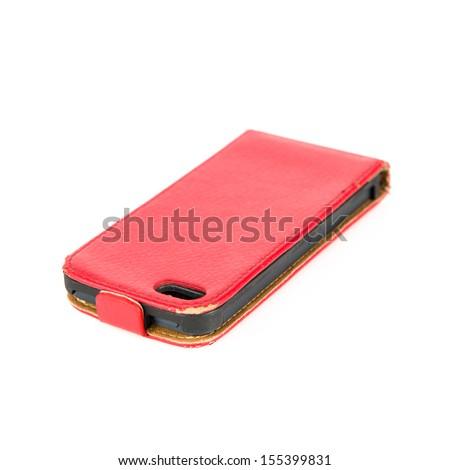 Red mobile cover isolated over white background - stock photo