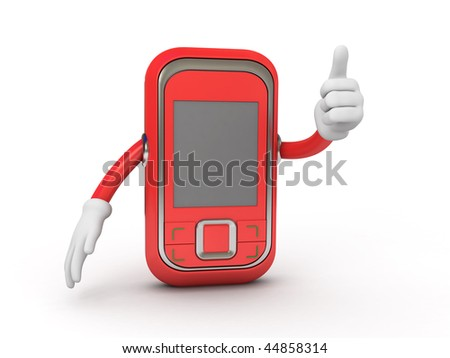 red mobile showing he's big finger - stock photo