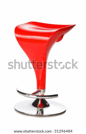 Red modern bar chair isolated over white background - stock photo