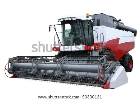 Red modern combine separately on a white background - stock photo