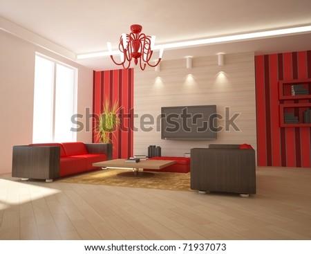 red modern interior - stock photo