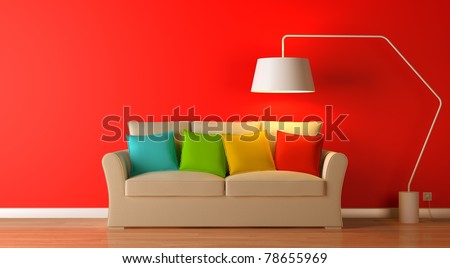 red modern interior composition - stock photo