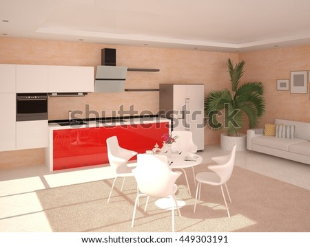 Red modern kitchen , with furniture not function, 3d rendering. - stock photo