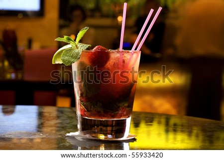 red mojito on the table - stock photo