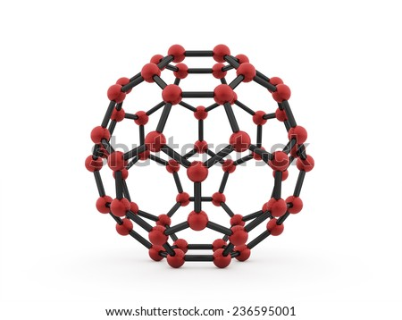 Red molecular mesh sphere rendered - stock photo