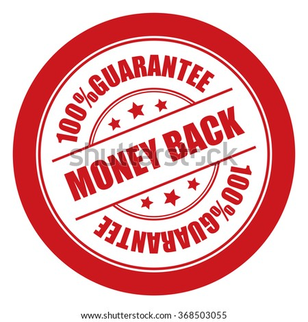 Red Money Back 100% Guarantee Campaign Promotion, Product Label, Infographics Flat Icon, Sign, Sticker Isolated on White Background  - stock photo