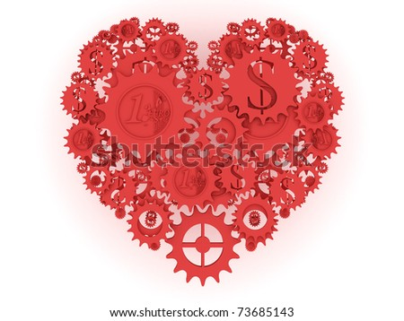 red money mechanism in shape of heart. Euro and dollar currency signs. - stock photo