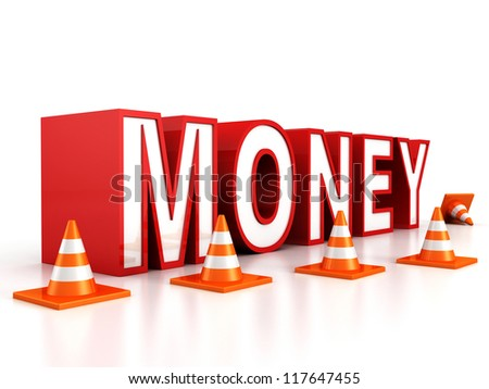 red money text behind of road safety cones - stock photo
