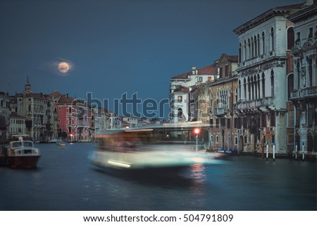 Red moon in blue hour, Grand Canal,  Venice.