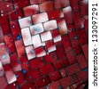 red mosaic background - stock photo