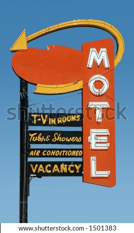 red motel sign - stock photo
