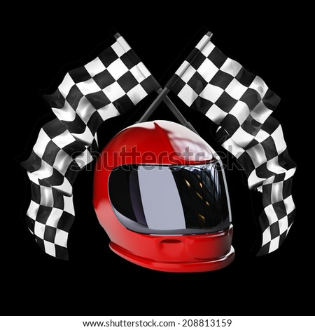 Red moto helmet. Two crossed checkered flags isolated on black background High resolution 3d render  - stock photo
