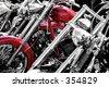 RED MOTOR BIKE AT BIKE SHOW - stock photo