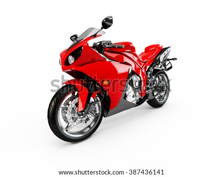 Red motorcycle isolated on a white background - stock photo