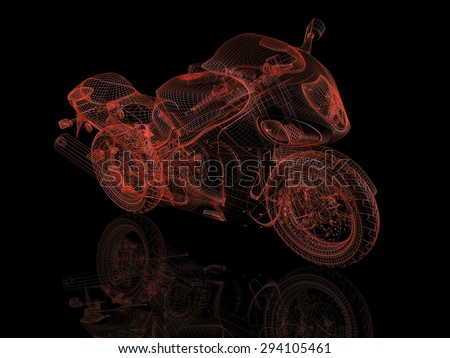 Red motorcycle wireframe 3d model on black background with reflection - stock photo