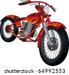 Red motorcycle with fiery drawing Raster version - stock photo