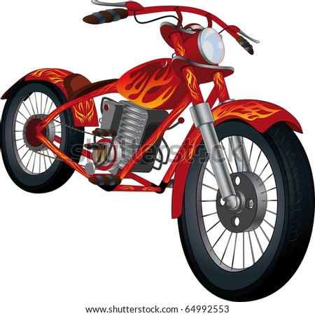 Red motorcycle with fiery drawing Raster version