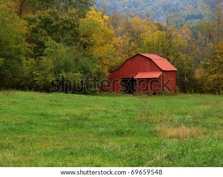 red mountain barn - stock photo