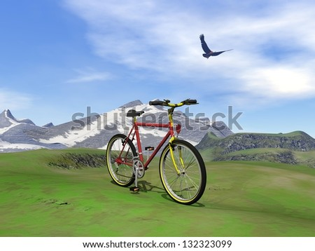 Red mountain bike at the mountain by summer day with eagle flying in the cloudy sky - stock photo