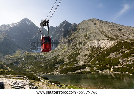 Red Mountain Cable Car with Mountain Range in Background