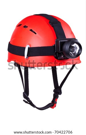 red mountain helmet with headlamp - stock photo