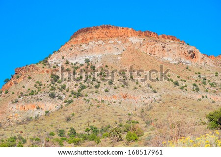 Red mountain in Mojave Mational Preserve - stock photo