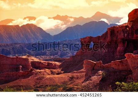 Red Mountain in the vicinity of the town of Cafayate Department . Province of Salta - stock photo