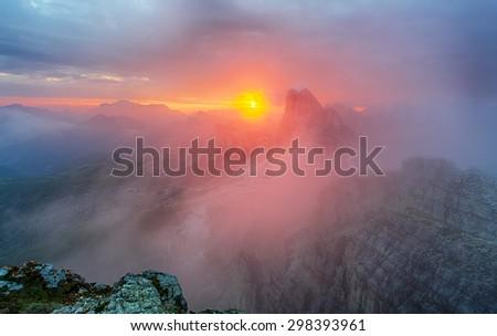 Red mountain landscape panorama, Dolomiti - stock photo