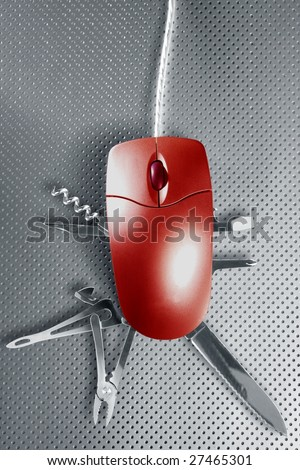 Red mouse metaphor pretending to be a swiss multifunction knife [Photo Illustration] - stock photo