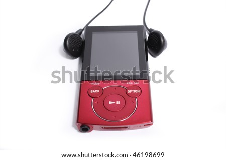Red mp3 player on white background - stock photo