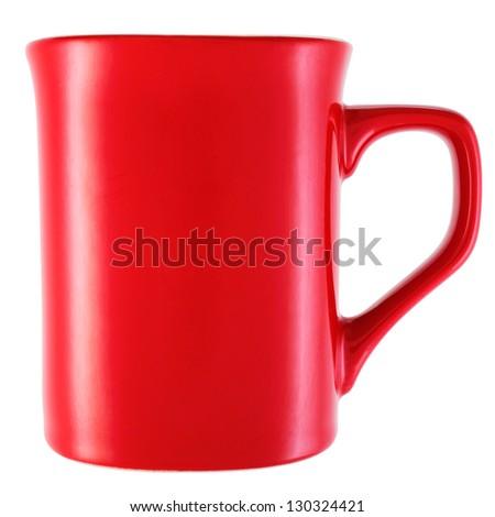 Red mug isolated on white background - stock photo
