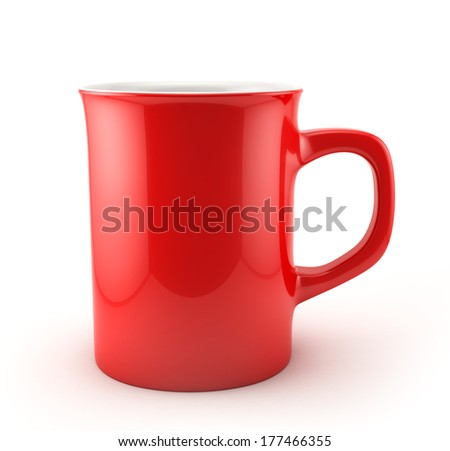 Red Mug , Isolated on white , Clipping path , 3d render - stock photo