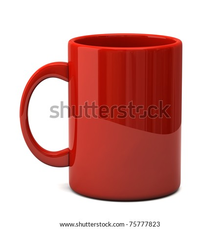 Red mug on a white background - stock photo