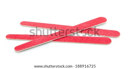 red nail files isolated on white background