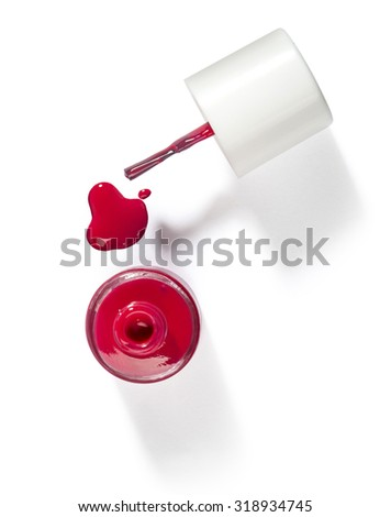 red  nail polish and brush on white background with clipping path - stock photo